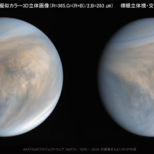 紫外イメージャ(UVI)で撮影した金星昼面合成擬似カラー3D立体画像