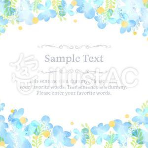 【イラストAC】青い花のフレーム