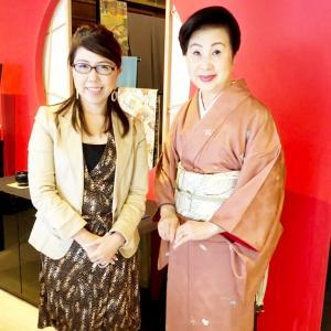山口百恵さんや工藤静香さんの着付けをした文化人、三宅先生にご挨拶