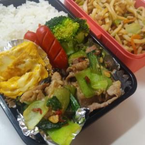 今日のお弁当 豚肉と青梗菜炒め