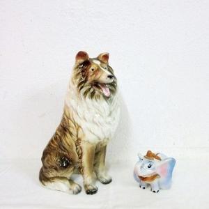 昭和レトロな陶器人形(コリー犬と象)