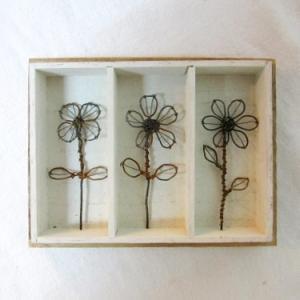 小さな針金の花の標本木箱