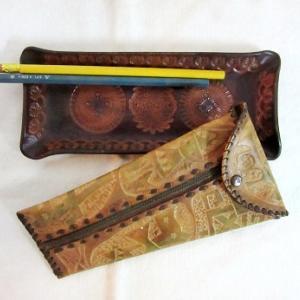 革のペンケース&ペン皿