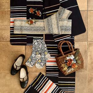 梅雨時の洋装Mixスタイル!銘仙の着物に靴をコーディネート