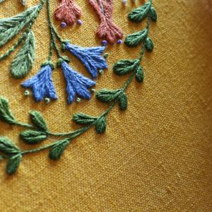 円形に花と鳥を配置した図案の刺繍が終わりました