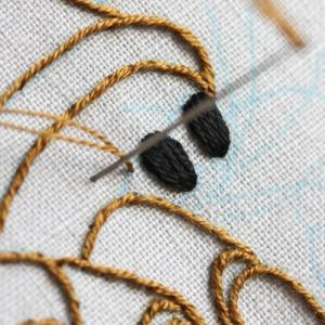 ヤドカリの刺繍をしています