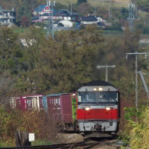 駆け上がる貨物列車