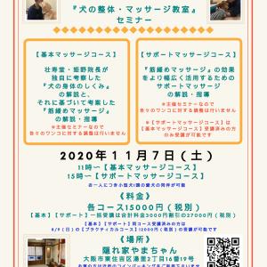 大阪開催『犬の整体・マッサージ教室』セミナー告知