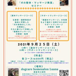9月大阪府・兵庫県開催『犬の整体・マッサージ教室』セミナー告知