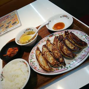 餃子定食(よく焼き)&もつ味噌炒め  餃子の王将  水戸市