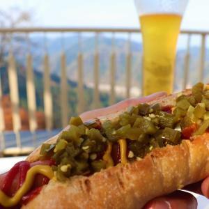 高尾山グルメ|高尾山展望レストランで食べる天狗ドッグと天狗ビールの天天セット