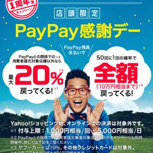 本日(10/5)限定PayPay20%バック復活(^^)/