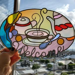 カフェの看板にピッタリな作品が完成しました!