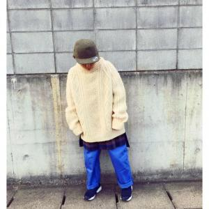 【Organza/花とギター】SIZE SLIT REMAKE CABLE KNIT