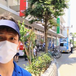 朔日参り、小川淳也さん青空対話集会