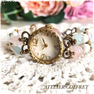 【手づくり腕時計】ベリルミックスとコットンパールの腕時計