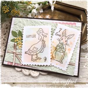 切手風にもしてみたり♪会社に提出したカード