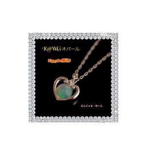 K18WGオパール&ダイヤモンドデザインネックレス