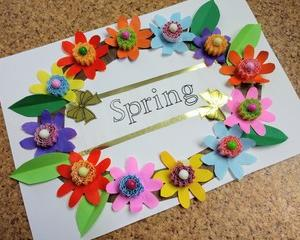 春の花のリース飾り デイサービスの創作レク