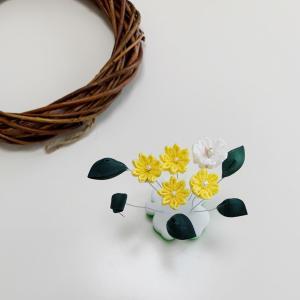 つまみ細工のお花でリース作り