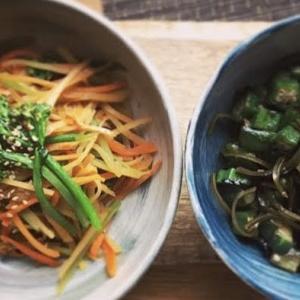 お惣菜レシピ:胡瓜とオクラの醤油漬け,ひじき煮付け
