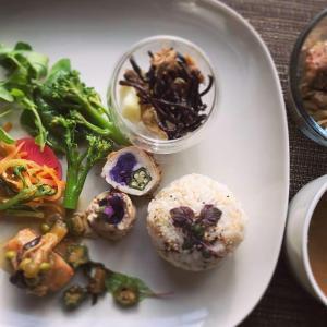 ツナステーキのエノキ餡掛けと野菜のポークロールとおにぎりのワンプレート