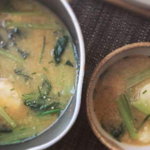 里芋とチョイサムのお味噌汁