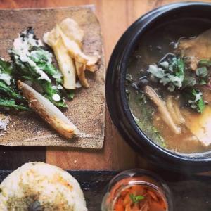 お豆腐の味噌鍋と野菜天ぷらとおにぎりの献立