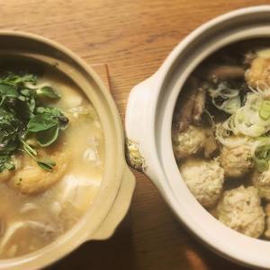 鶏つくね鍋と絹ごし豆腐の白味噌鍋