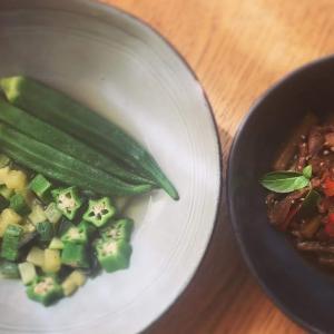 野菜のおかず:サイコロおひたしと煮付け