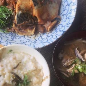 鯖とこんにゃくの味噌煮こみと玄米味噌粥の献立