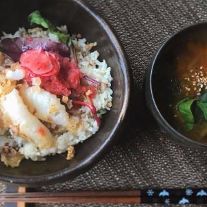 イカのラディッシュおろし丼とキムチと干し人参のスープの献立