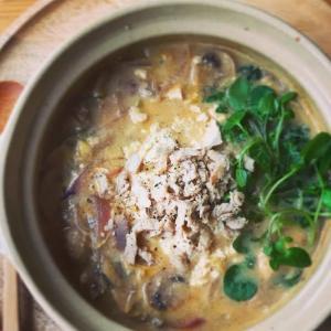 お豆腐とクレソンの土鍋スープ