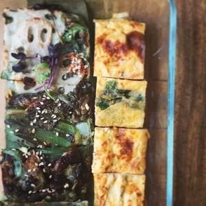 菊芋入りチヂミと甘め厚焼き玉子のお惣菜