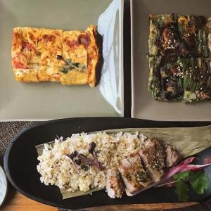 菊芋入りチヂミと厚焼き卵と塩豚ハーブ焼きの献立