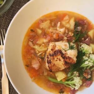 モンクフィッシュ(あんこう)とサフランスープのお祝い膳