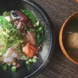 五味薬味七鮮ちらし寿司/ブラッドオレンジの寿司飯/めかぶと梅胡椒のお吸いもの