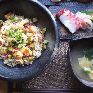 野菜ちらし寿司とお刺身の献立