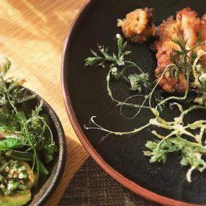 鶏唐と人参の葉っぱのサクサク揚げ/ケールとアボカドのオクラたたき和え小鉢