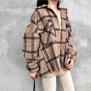 しまむらの「チェックCPO JK」の使用感レビュー!トレンドのCPOジャケットをプチプラで♪丈が短めで裾が直線的なボックスカットなのが特徴的でかわいい。