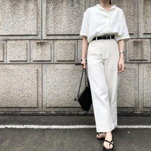 ユニクロの「リネンブレンドオープンカラーシャツ」の着回し♪夏にぴったりのホワイト系ワントーンコーデにチャンレンジ!
