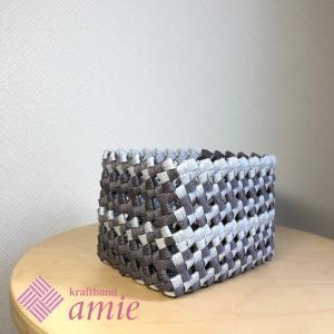 四つだたみ編みの基本のかご