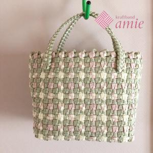 リバーシブル編みのバッグ やっと完成