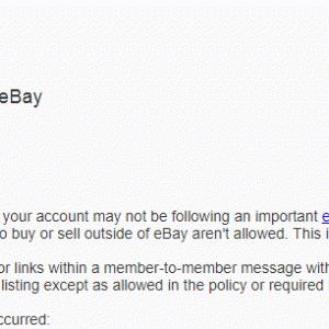 eBay 怒られちゃった