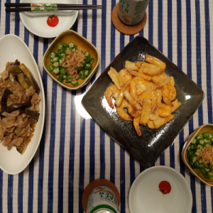エビマヨの夕食