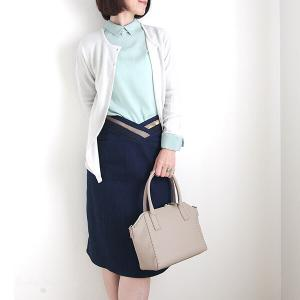 春色コーディネート:ミント+アイボリー++デニムスカート
