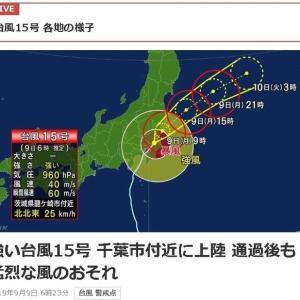 台風15号関東を直撃 ; 強風被害甚大・交通網終日大混乱