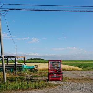 江別の広大な畑のど真ん中に自販機だけある風景[江別市八幡]