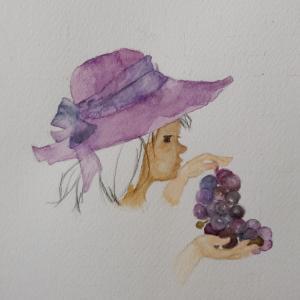 いわさきちひろ『ぶどうを持つ少女』を描いてみた!