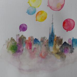 いわさきちひろ『街いっぱいの風船とパスカル』
